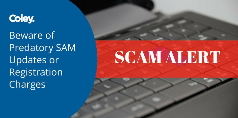 CAUTION: Beware of Predatory SAM Updates or Registration Charges
